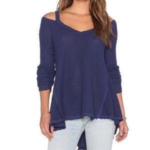 🆕Free People Moonshine Cold Shoulder Sweater Blue
